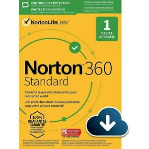 Norton 360 Standard- 15 Month- 1 Device- US Canada -Real-time Threat Protection
