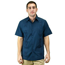 Embroidered cotton blend guayabera. SIZE:4X COLOR:NV
