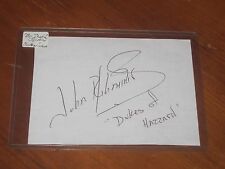 John Schneider Autographed 4x5 1/2 Index Card JSA Auc Cert  Dukes of Hazzard