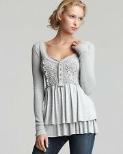 FREE PEOPLE Heather Gray Thermal Lace Scoop L/S Henley Tee S Baby doll knittop