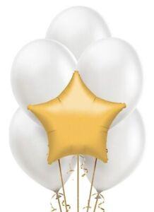 Gold Star Mylar / White Latex Balloons Bouquet (13) Birthday Decoration