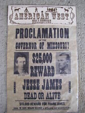 Jesse James Frank James Wild West Collection Wanted Replica Poster Outlaw