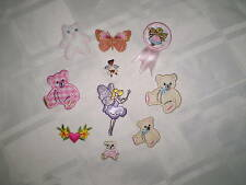 NEW Sample Pk EMBROIDERY Iron on BABY GIRL PRETTY MOTIFS PATCHES FAIRY BUTTERFLY