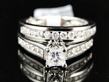 14K Ladies Princess Diamond Solitaire Wedding Engagement Duo Ring Set 1.00Ct