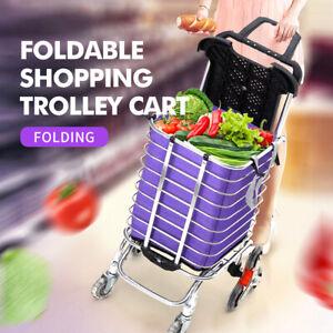 Foldable Shopping Cart Trolley Basket Luggage Grocery Portable Aluminum  w/Wheel