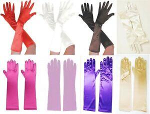 Plain Long Satin Ladies Finger Gloves Elegant Evening Wedding Fancy Dress UK