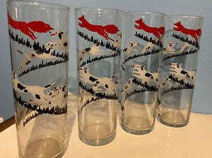 Set Of 4 Vintage Drinking Glasses- Dog Chasing Fox/ Hunting