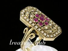 C727 Genuine 9K Yellow Gold Natural Ruby & Pearl Art-Deco style Ring made to siz