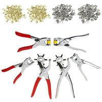 New 128Pcs Leather Hole Punch Repair Tool Eyelets Grommets + Pliers Kit