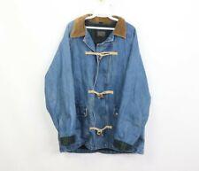 Vtg 80s Brooks Brothers Mens Medium Flannel Lined Fisherman Toggle Denim Jacket