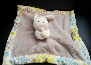 Blankets & Beyond Gray and White Bunny Rabbit Plush Security Blanket - 15""