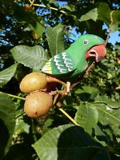 More details for 1900 era  naif wood carved painted parrots perroquets a pair  worn