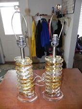 VTG MCM Hollywood REGENCY Karl Springer Style Stacked Spiral Lucite Table Lamps