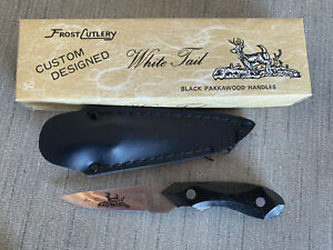 "Vintage Frost Cutlery White Tail 6.75"" Knife Black Pakkawood Handles w/ Sheath"