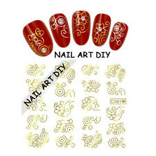 20 Stickers-decals water transfer GOLDEN-Adesivi per unghie FIORI con color ORO!