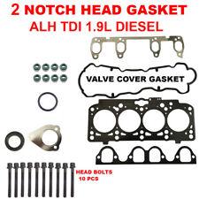 2 NOTCH Engine Cylinder Head Gasket Set w Bolts for VW ALH TDI 1.9L Diesel