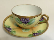 Antique Limoges Signed Tharaud Cup & Saucer Art Deco Purple Violets French 19thC