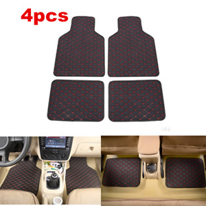 4x Black/Red Waterproof Car Floor Mat Front Rear For Auto Interior Accessories