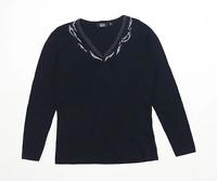 Diva Womens Size M-L Textured Black Studded Top (Regular)