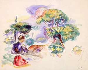Renoir 1890, Landscape with a Girl, Fade Resistant HD Art Print or Canvas