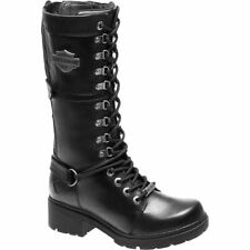 Harley Davidson Harland Black Womens Leather Calf-Length Biker Boots