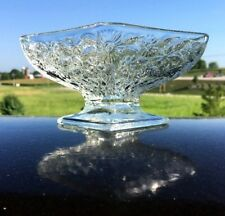 Vintage Indiana Glass Clear Pineapple & Floral Diamond Compote Bowl Dish Strait