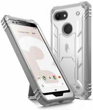 Google Pixel 3 Shockproof w/kick-stand Case,Poetic Dual Layer Cover White