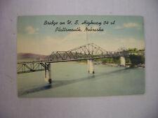 VINTAGE LINEN POSTCARD THE BRIDGE ON HWY 34 AT PLATTSMOUTH NEBRASKA 1948