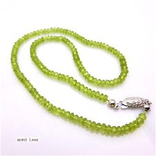 Natural Olive Green PERIDOT Sparkling Faceted Rondelle Bead NECKLACE
