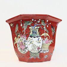 New listing Vintage Chinese Hand Decorated Hexagon Planter Macau Bats animals Asian