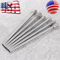 "6pcs 1/4"" Tungsten Carbide Burr Rotary Drill Bits Tools Cutter Files Set Shank"