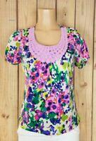 CARIBBEAN JOE Womens Size Medium Petite Short Sleeve Embellish Neck Abstract Top
