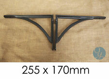 "Pair Black 10x7"" VICTORIAN IRONBRIDGE CAST IRON SHELF BRACKETS ANTIQUE - BR15bx2"