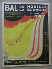 AFFICHE ancienne Bal de la Houille Blanche. 31 janvier 1948 ill. de DALS bel ex