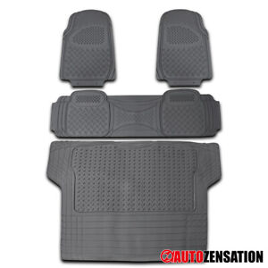 4PC Front+Rear+Trunk Gray PVC All Weather Heavy Duty Floor Mats SUV Truck