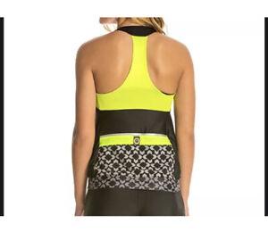 NEW Moxie Cycling Top Shirt Large Layered Tank Print Neon Jersey USA