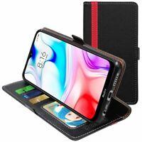 Etui Xiaomi Redmi 8 8A Portefeuille Housse PU Cuir Porte-Cartes, Noir / Rouge