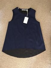 COUNTRY ROAD Womens Singlet Top XS 10 Sculptured Tank Navy Blue