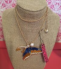 + Crystal Rhinestone Butterfly Long Necklace Too Cute Yellow + Blue Enamel