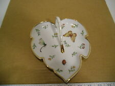 I. Godinger & Co. Primavera Butterfly, Insects & Floral Gold Trim Leaf Dish EUC