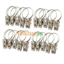 20pcs Stainless Steel Window Shower Curtain Rod Clips Hook Rings Drapery Clips