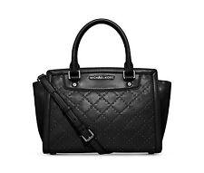 NWT Michael Kors Micro Stud Selma Quilted Satchel Medium Handbag Black $348