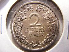 Germany 1926-F Silver 2 Mark, KM#45, XF+/AU