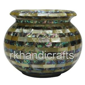 04 Inches Marble Flower Pot with Abalone Shell Work Table Master piece Handmade