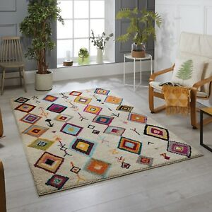Atlas 1330W Cream Multi Coloured Berber Tribal Design Rug in various sizes