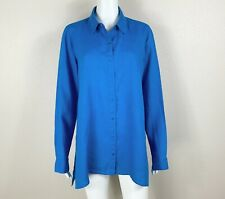 EILEEN FISHER Organic Linen Long-Sleeve Shirt Button Down Blue Small - NTSF