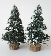 Lemax Evergreen Trees Wood Base Flocked - Christmas Village Or Train Layout