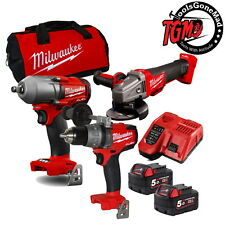 Milwaukee M18 18V 3-Pce Next Generation Fuel Brushless Wrench Drill Grinder Kit