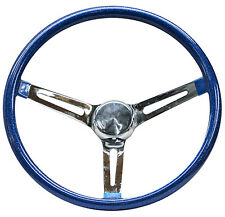 "Mooneyes Blue Metalflake Steering Wheel 15"" with slots in spokes Rat Fink   GM"