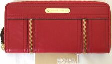 NEW-MICHAEL KORS MOXLEY RED LEATHER+GOLD TONE CONTINENTAL ZIP CLUTCH WALLET